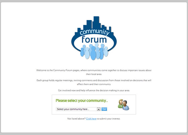 Community Forum Welcome Screen