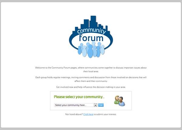 Community Forum Welcome Screen