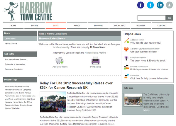 Harrow Town Centre News Page