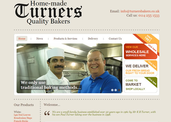 Turners Bakers Homepage