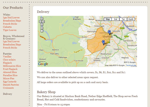 Turners Bakers Delivery Areas