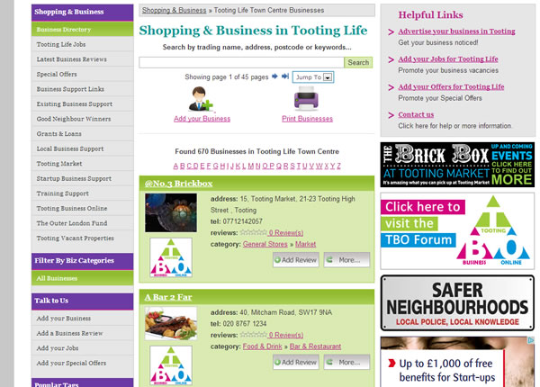 Tooting Life Business Directory